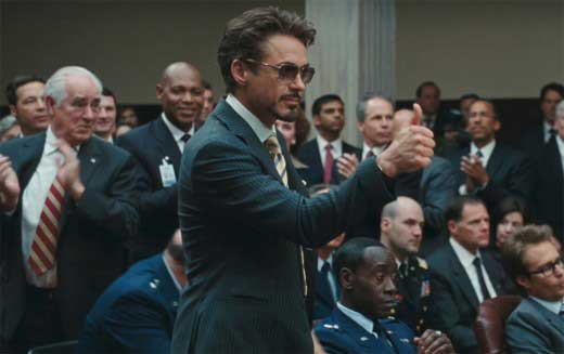 Tony Stark wearing sunglasses in Iron Man 2